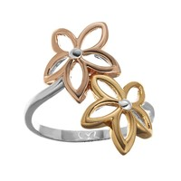 14k Gold-Plated & Silver-Plated Tri-Tone Openwork Flower Bypass Ring (Grey)