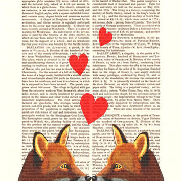 Fox Valentines Print Foxes in Love Acrylic Art Original Painting Print Mixed Media Valentine Day Love Heart wall art wall decor Wall Hanging