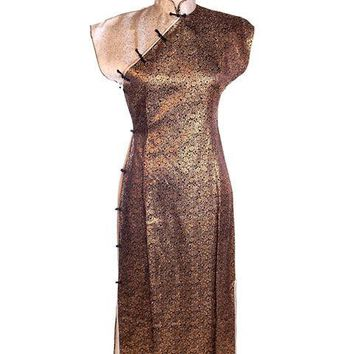 Vintage 1950s Metallic Cheongsam Copper Brown Damask Dress  34-28-37