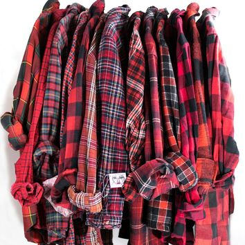 Vintage Red Flannel Cotton Button Down Unisex Grunge Tie Waist Plaid Red Black Shirt