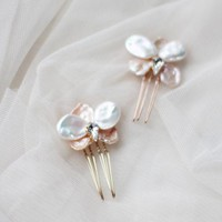 Bridesmaid Hair Jewelry Pin Bridal Hair Clip Wedding Mini Comb Small Bridal Hair Comb with Pearls Flower Orchid Clip Hair Clip Barette