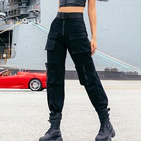 New fashion overalls couple sports leisure pants Black