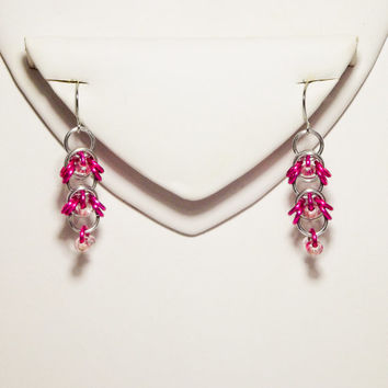 Pink & Silver Chasing Bee Earrings