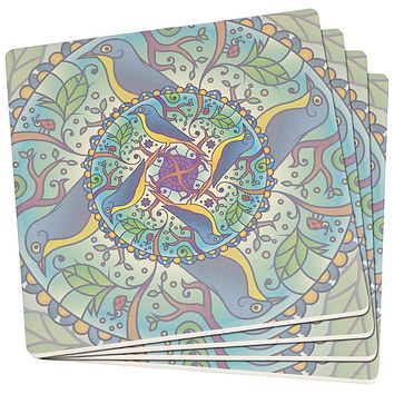 Mandala Trippy Stained Glass Spring Birds Set of 4 SandsTone Art Coasters