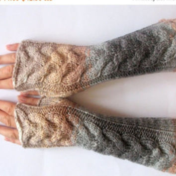 Fingerless Gloves Mittens Beige Milk White Cream Gray Wrist Warmers Knit