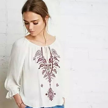 Winter Women's Fashion Embroidery Blouse [6513084679]