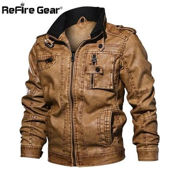 ReFire Gear Men's PU Leather Jacket Winter Military Pilot Bomber Jackets Autumn Fashion Outerwear Motorcycle Biker Leather Coat