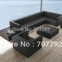 Koro Rattan Sectional Sofa Set with Coffee Table and Matching End Tables