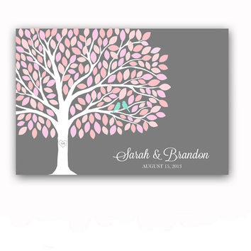 Guest Book Tree Wedding Guest Book Alternative with 200 Leaves Guest Book Poster with Love Birds in Pink and Grey