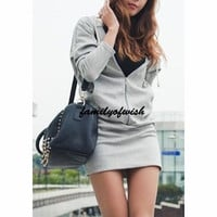 Casual Hoodies Zippered Wing Printed Solid Color Mini Hip Package Dress for Women = 1841869380