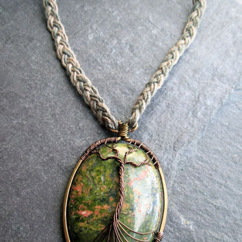 Tree of Life Necklace, Unakite Gemstone Bronze Wire Wrap Epidote on Braided Natural Hemp, Norse Yggdrasil Kabbalah Jewelry, UK Handmade,