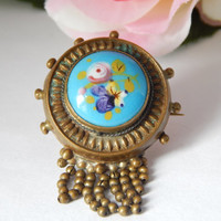 Victorian Antique Etruscan Blue Enamel Hair Locket Brooch with Painted Floral Detail and Tassles