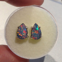 Awesome Australian Opal Doublet Pair Earrings - AAAA - Hot Colors