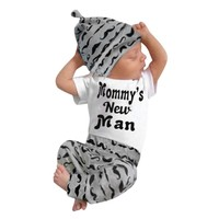 Newborn Baby Boy Clothes Mommy's New Man Infant Short Sleeve Bodysuit Tops Moustache Pants and Hat Toddler Boys Outfit Clothing
