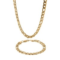 Lynx Yellow Ion-Plated Stainless Steel Figaro Chain Necklace & Bracelet Set - Men