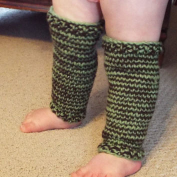 Knit Baby Legwarmers- Brown and Green Striped Baby Legging- Baby Legs Girl- Infant Leg Warmers- Boho Baby- Bohemian Baby- Hippie Baby