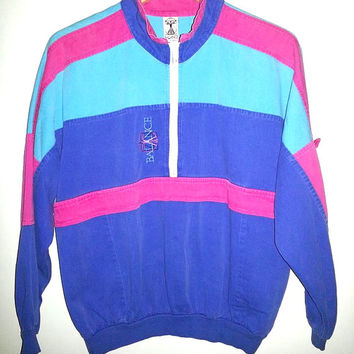 Vintage Light Weight Color Block Jacket Hipster Workout Color Pink Blue Navy Size Small