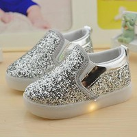 Fashion Online Baby Girls Boy Led Light Shoes Toddler Anti-slip Sports Boots Kids Sneakers Children Cartoon Sequins Pu Flats Size 21-30 New 183