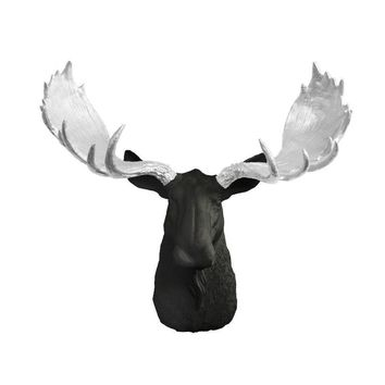 The Alberta | Moose Head | Faux Taxidermy | Black + Silver Antlers Resin