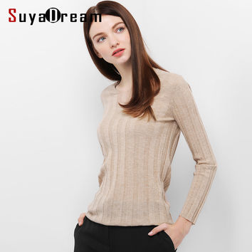 Women wool Pullovers Solid V neck sweater 90%Wool 10%Real Silk  knitted sueter top tunic jumper pull femme 2016 Fall Winter