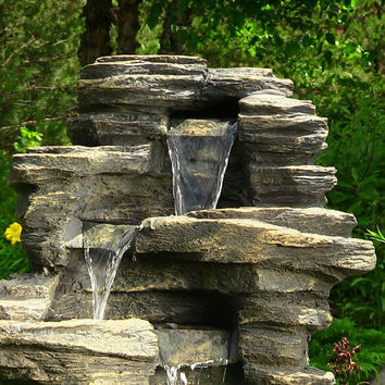 Outdoor indoor yard garden water fountain outdoor decor waterfall with led for patio garden oasis landscape