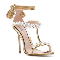 Paula Cademartori Embellished Ankle Tie Sandals - Farfetch