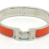 Authentic Hermes Orange Enamel Palladium Clic Clac H Bracelet Bangle 18006244CK