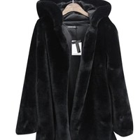 Black Imitated Fur Hooded Coat