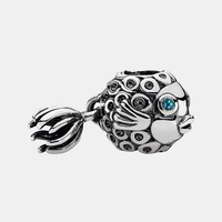 Women's PANDORA 'Splish Splash' Dangle Charm - Silver/ Blue Topaz