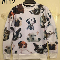New Fashion 3D Hoodies Funny Printed Dogs Emoji Sweatshirts