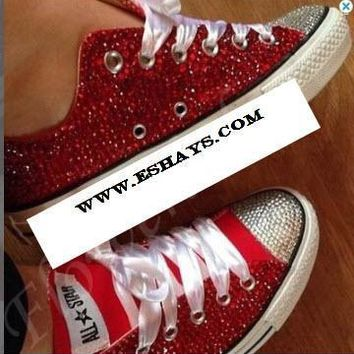 Red and Clear Crystal Low Top Converse with Ribbon Laces