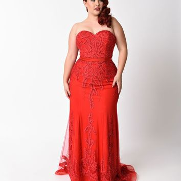Plus Size Red Strapless Embellished Long Dress