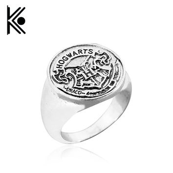 2017 New Hogwarts Bade Seal Death Hallows Ring the Slytherin School Steampunk Women/Men Cocktail Ring Drop Shipping