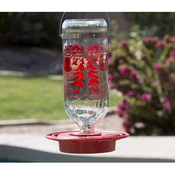 Best Hummingbird Feeder with Huge 32oz Glass Nectar Tank - Bee & Wasp Proof - Includes Built-In Perch & 8 Feeding Stations!