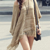 Dark Khaki Openwork Fringed Knit Sweater
