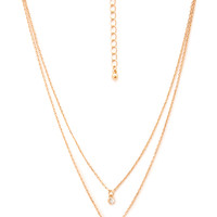 FOREVER 21 Rhinestone Charm Necklace Gold/Clear One
