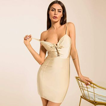 Solid Lace-up Bodycon Cami Dress
