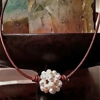 White Freshwater Pearl Cluster Ball Leather Cord Necklace