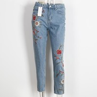 High Waist Flower Embroidery Women Jeans Fashion Ladies Pencil Denim Pants With Pocket