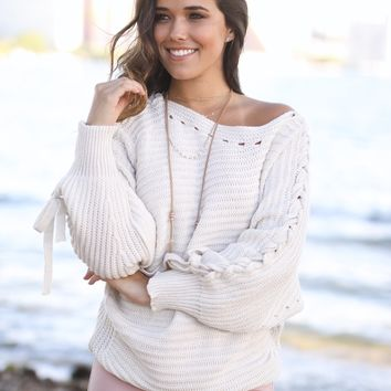 Light Beige Knit Dolman Sweater