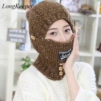 Womens Fall Fashion Hats Mask Beanies Winter Gorros For Female Knitted Warm Skullies Touca Chapeu Feminino M88