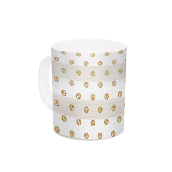 "Pellerina Design ""Linen Polka Stripes"" Gold Dots Ceramic Coffee Mug"
