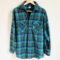 Vintage Turquoise Flannel -- 90s Flannel Shirt -- Oversized -- Blue & Green Plaid Flannel -- Osh Kosh -- Unisex / Mens Medium / Womens Large