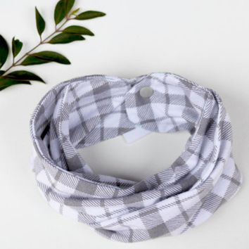 Baby Infinity Scarf - Grey Plaid