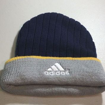 CUPUPI8 BRAND NEW ADIDAS NAVY WITH GRAY FLAP KNIT HAT SHIPPING