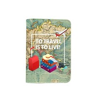 To Travel Is To Live World Map Passport Holder - Novelty Leather Passport Cover - Vintage Passport Wallet - Travel Accessory Gift - Travel Wallet for Women and Men_LOKISHOP