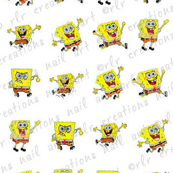 20 Assorted SPONGEBOB SQUARE PANTS Faces Nail Art Water Slide Decals