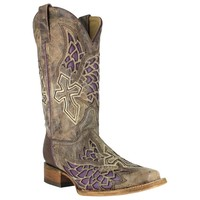 Corral Womens Boots Brown/Purple Side Wing and Cross Square Toe A2646 (IN STOCK) - IN STOCK Corral Boots - Rafter J Western World