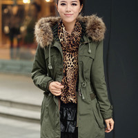 Fur Hooded Long Sleeve Coat