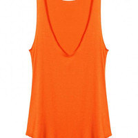 Orange Scoop Neck Sleeveless Vest Top